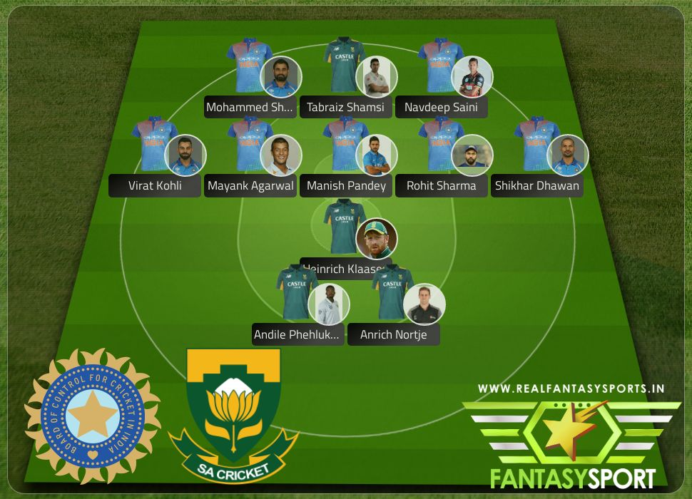India South Africa Dream11 team 18th March 2020