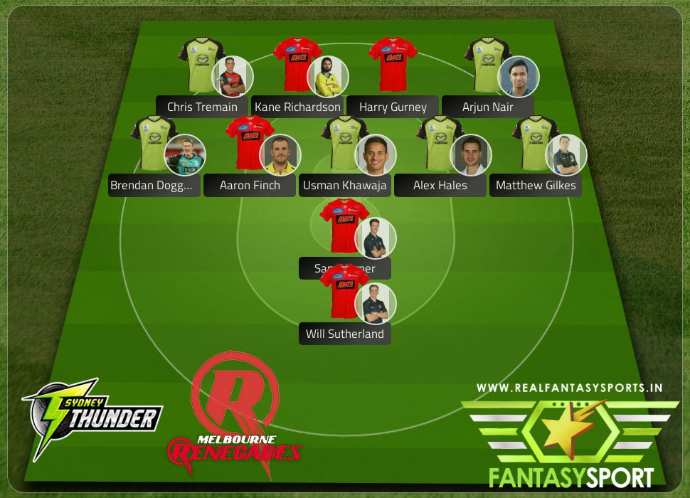 Sydney Thunder Melbourne Renegades Dream11 team selection 15th January 2020