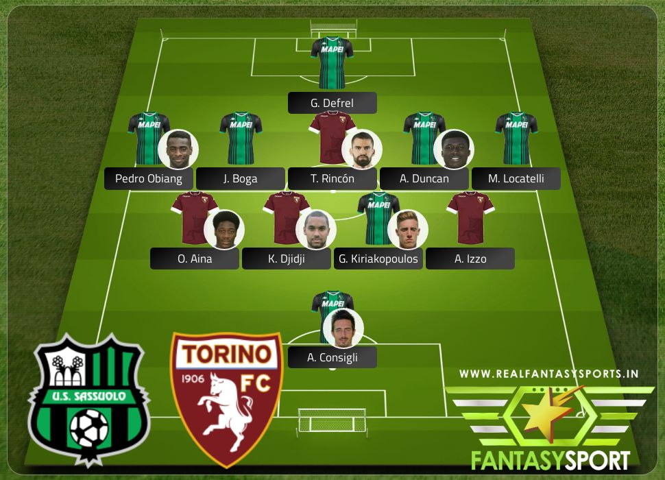 Sassuolo vs Torino include Real Fantasy Sports recommendation T. Rincón